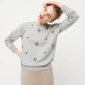 J crew gray embellished chandelier sweatshirt